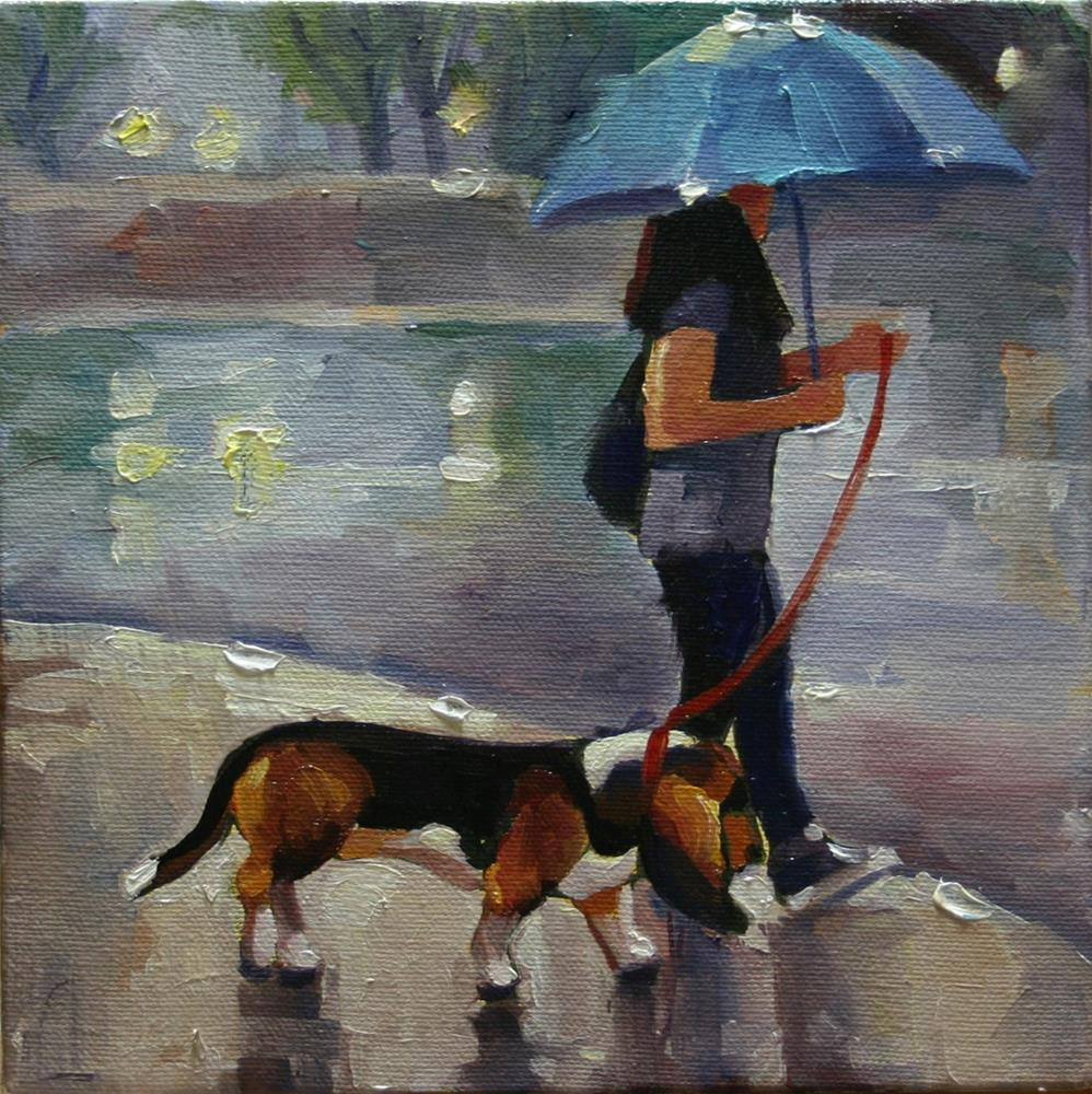 """Just Walking in the Rain No1, Front and Wellington"" original fine art by Catherine Jeffrey"