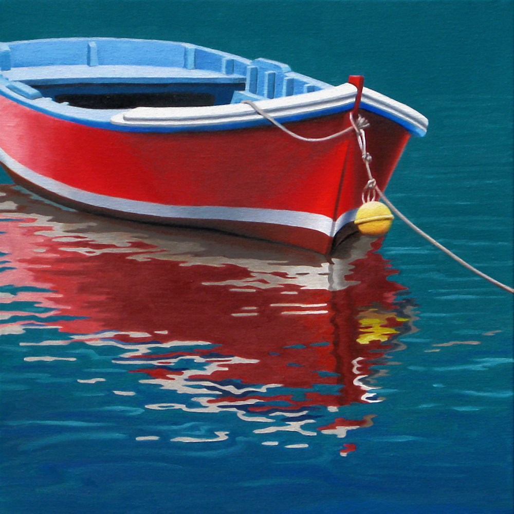 """Red Boat"" original fine art by Nance Danforth"