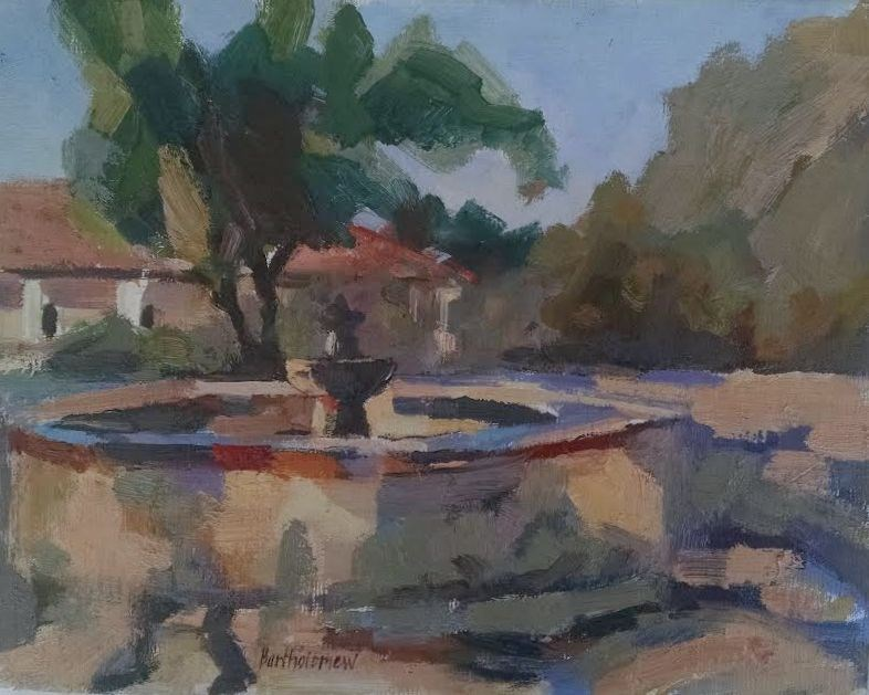 """California Missions - La Purisima Fountain"" original fine art by Karla Bartholomew"
