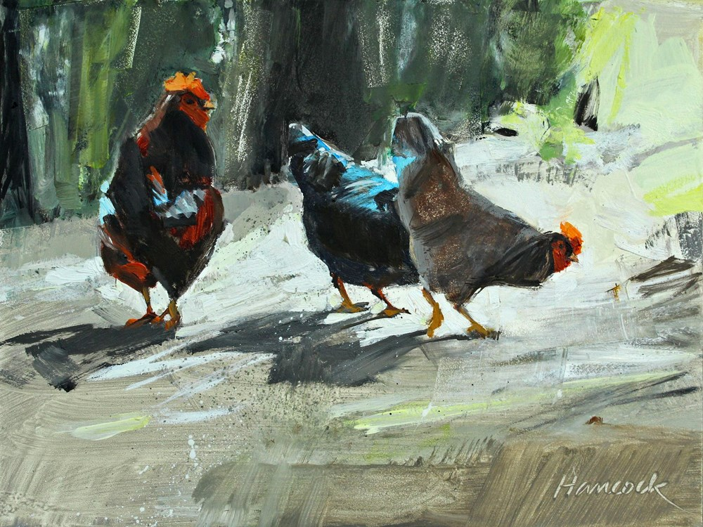 """Three Chickens"" original fine art by Gretchen Hancock"