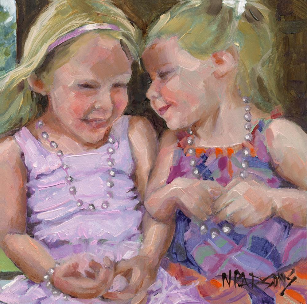 """SOLD- Silly Sister Secrets"" original fine art by Nancy Parsons"