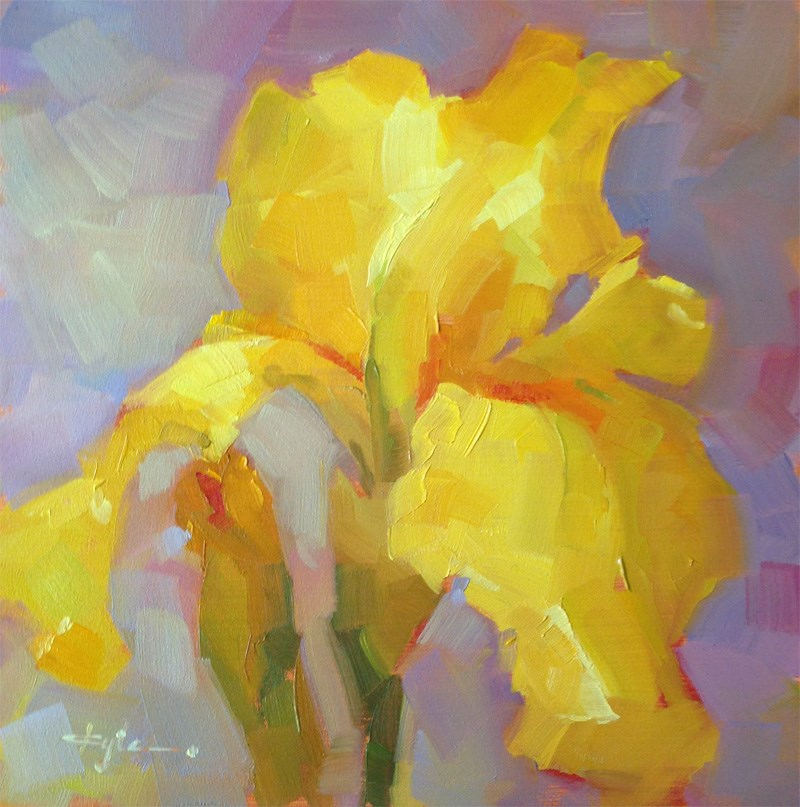 """Yellow Iris"" original fine art by Katia Kyte"