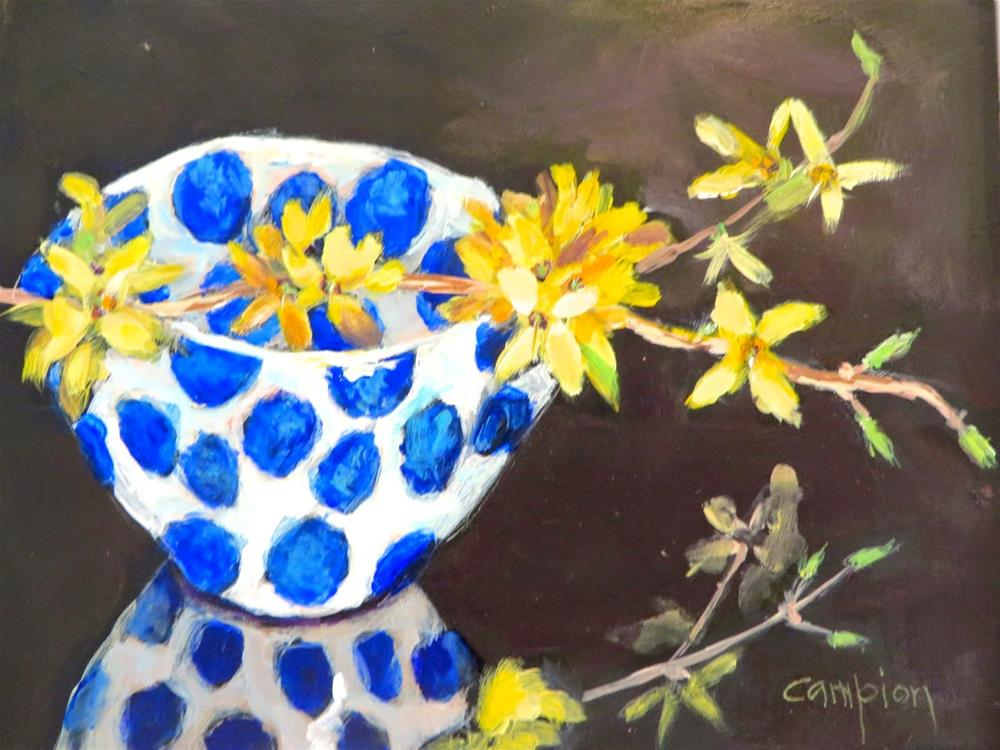 """592 Forsythia and a Polka Dot Bowl"" original fine art by Diane Campion"