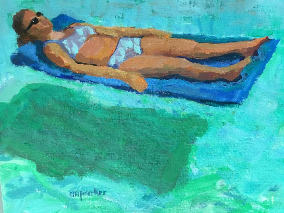 """Girl on a Raft"" original fine art by Christine Parker"