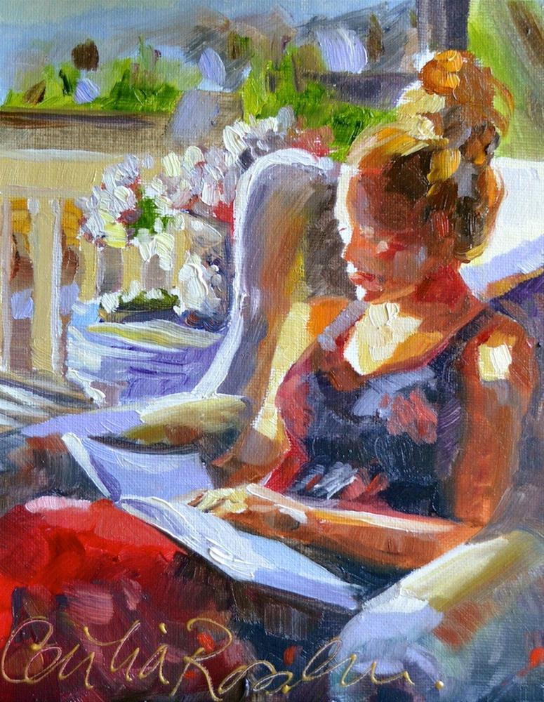 """Reading from Festive France"" original fine art by Cecilia Rosslee"
