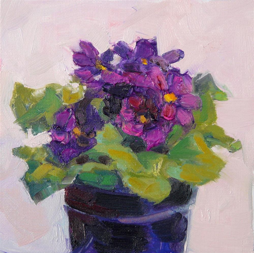 """First Purple Primrose,still life,oil painting,6x6,price$200"" original fine art by Joy Olney"