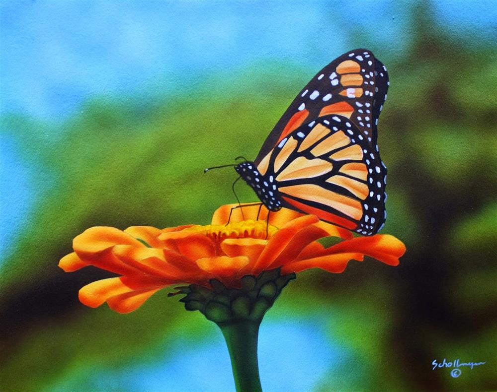 """Monarch and Zinnia"" original fine art by Fred Schollmeyer"