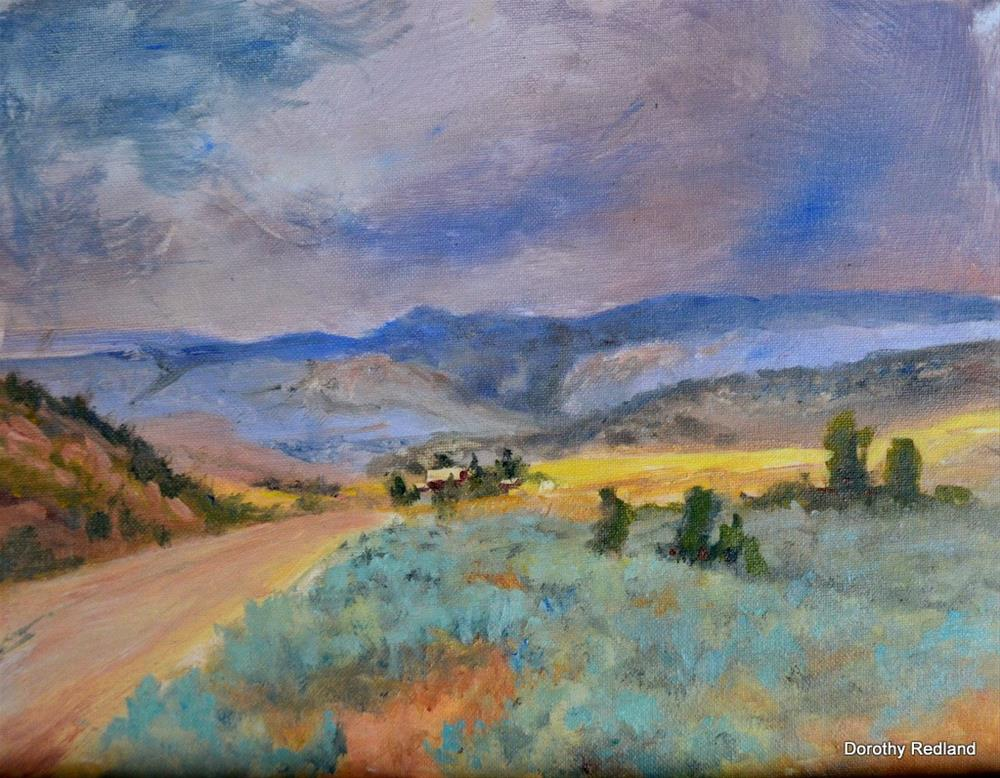 """tHE ROAD TO THE RANCH"" original fine art by Dorothy Redland"