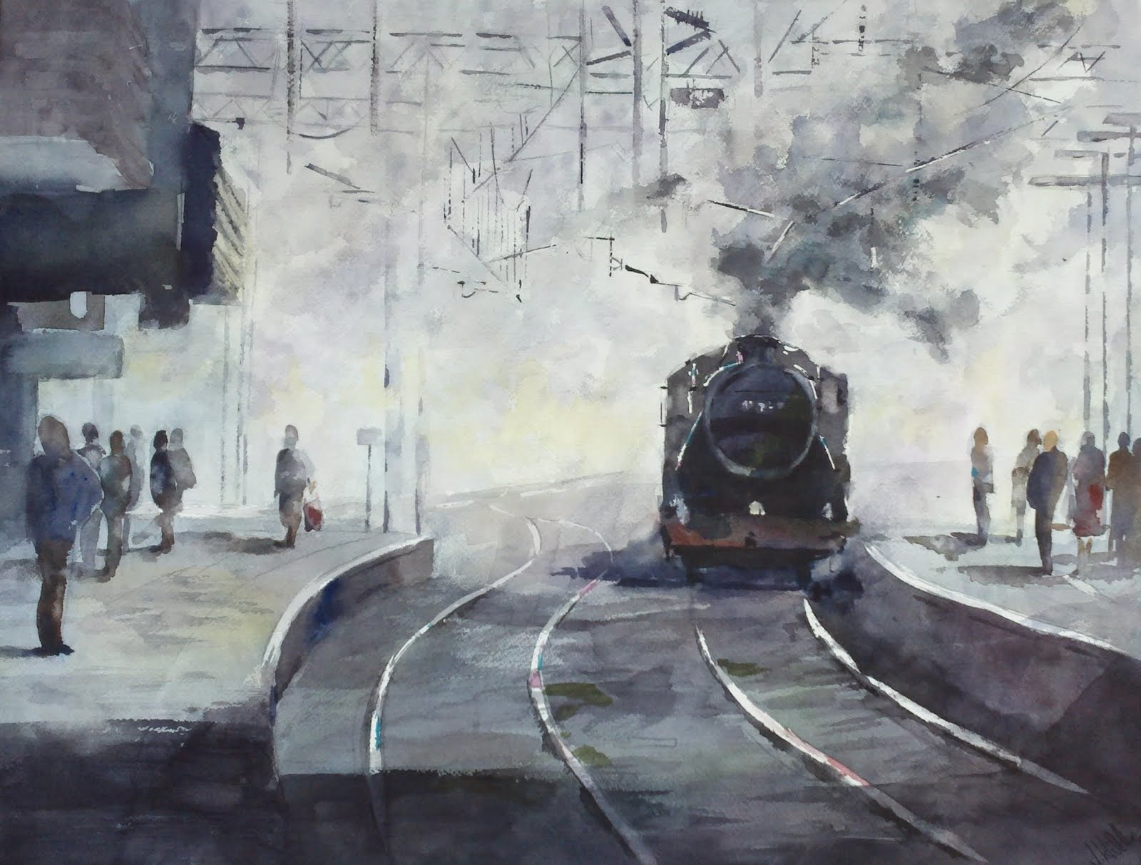 Morning Commute, Birmingham original fine art by Julie Hill