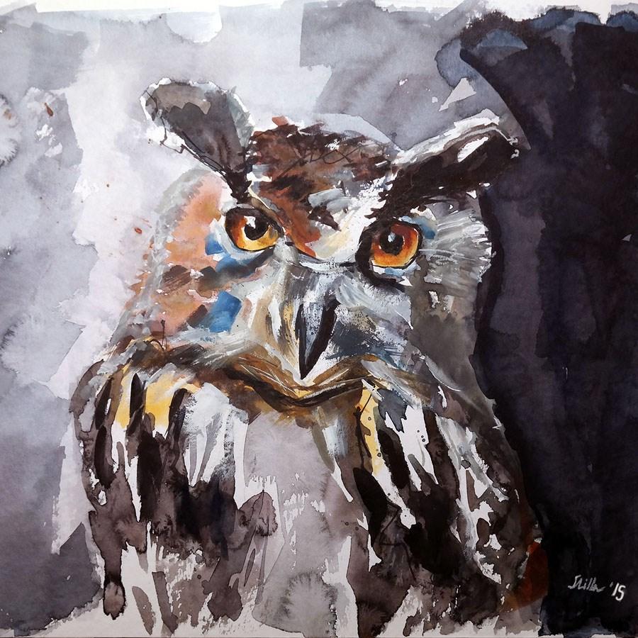 """1233 Owl of Wisdom"" original fine art by Dietmar Stiller"