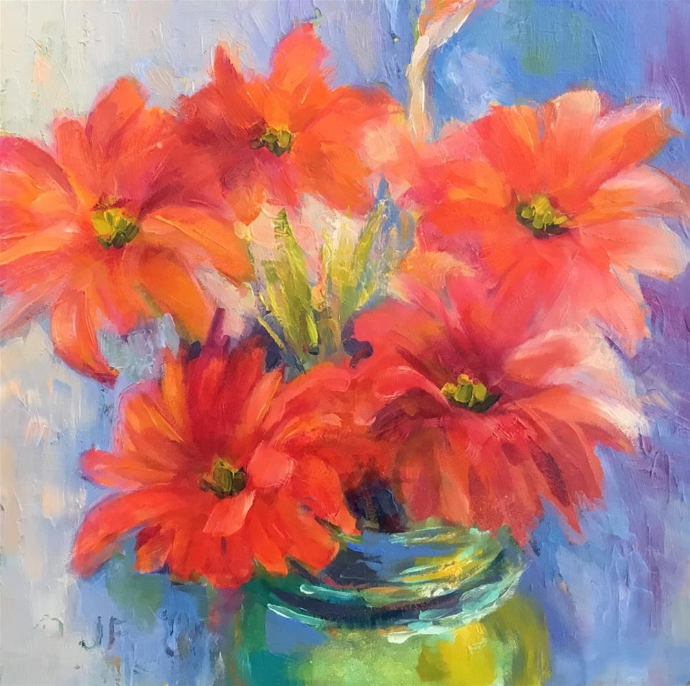 """Zinnias"" original fine art by Jean Fitzgerald"