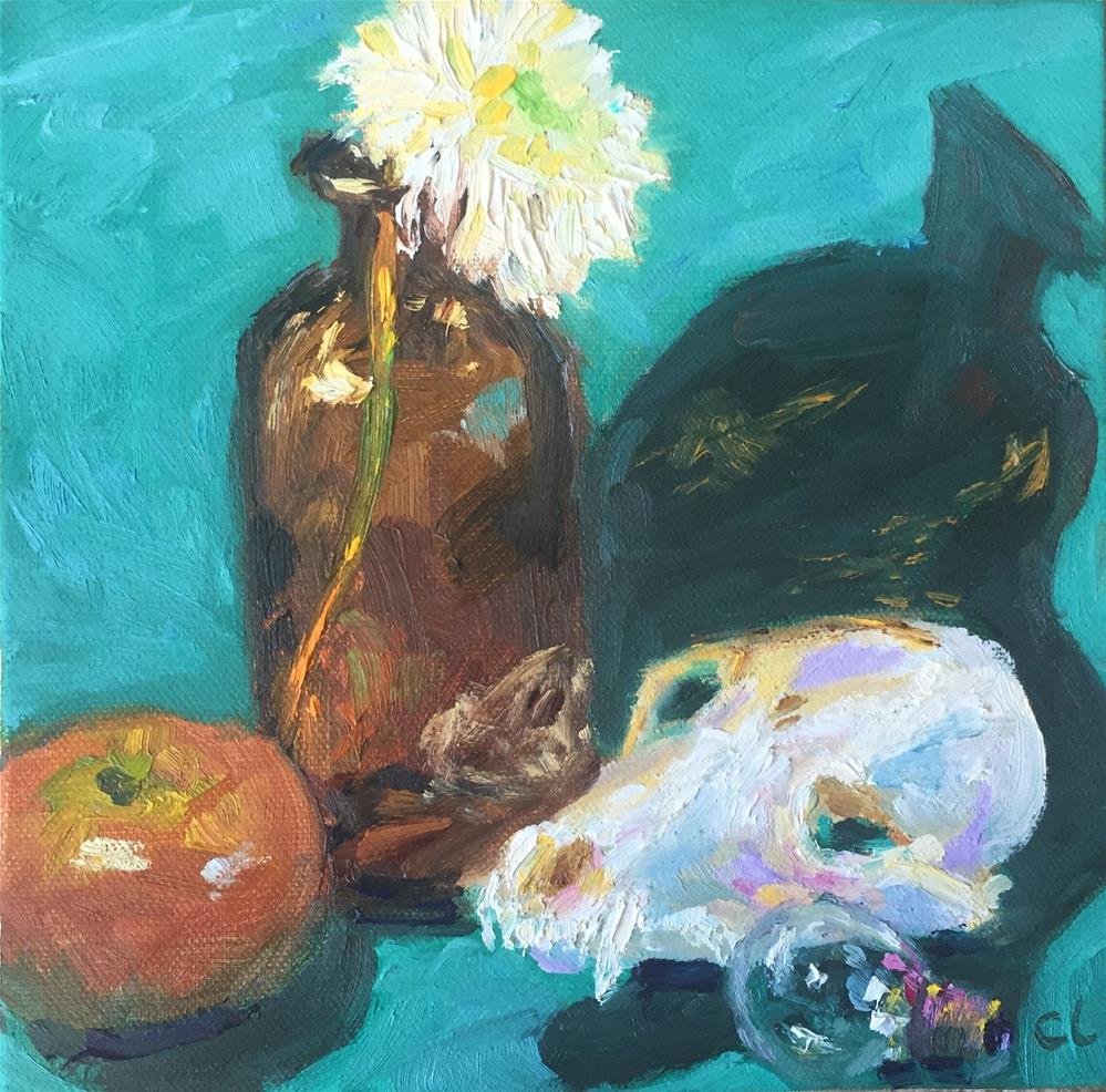 """Skull & Bulb"" original fine art by Cheree Apalona Lueck"