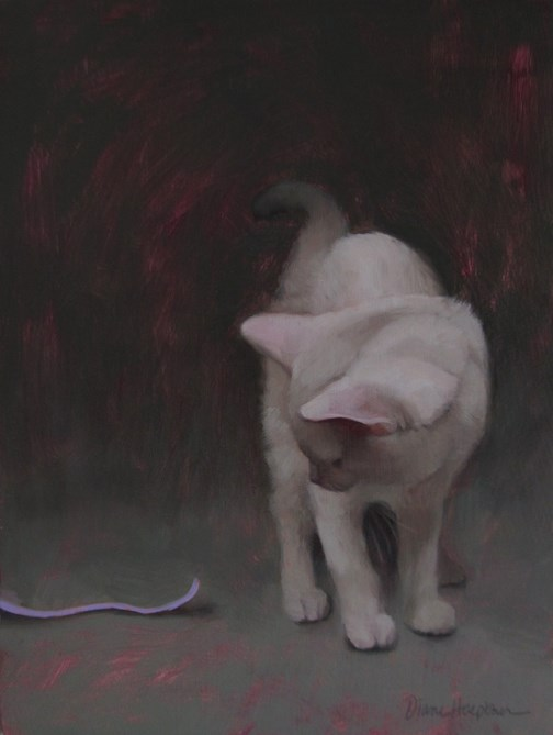 """Invitation to Play, painting of white cat"" original fine art by Diane Hoeptner"