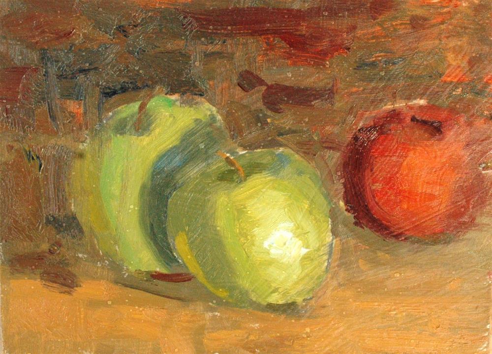 """Three Apples"" original fine art by Michael Clark"