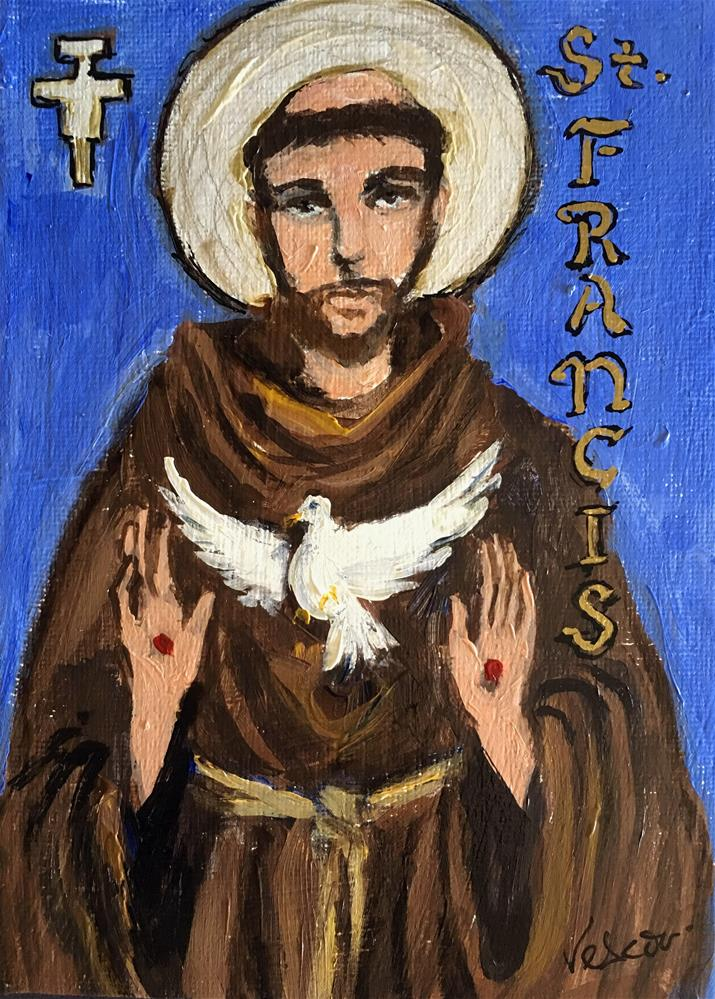 """St. Francis of Assisi"" original fine art by Valerie Vescovi"