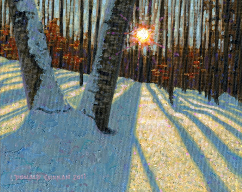 """Sunset Through the Trees"" original fine art by Donald Curran"