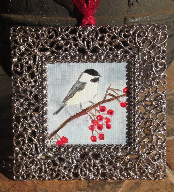 """Chickadee with Berries Ornament"" original fine art by Ruth Stewart"