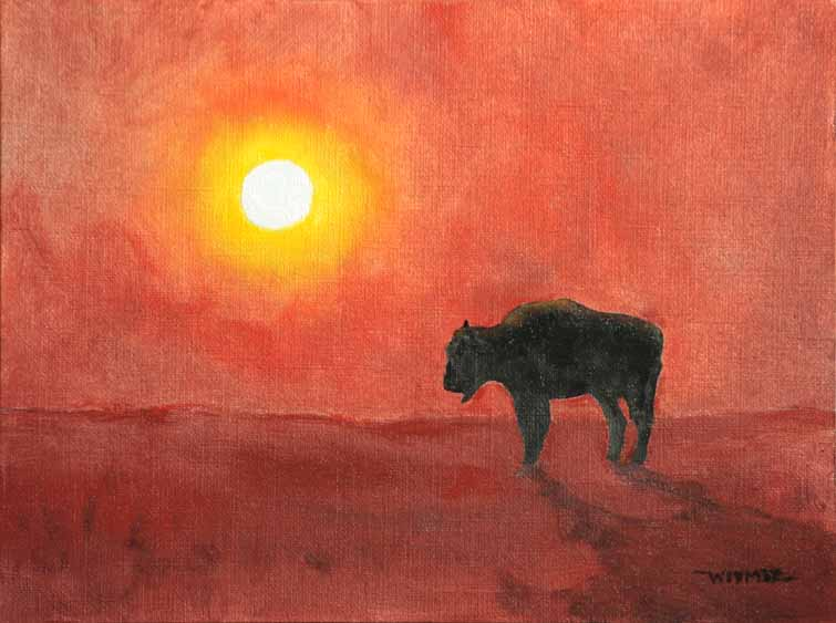 """Buffalo Sunset"" original fine art by Kirk Witmer"