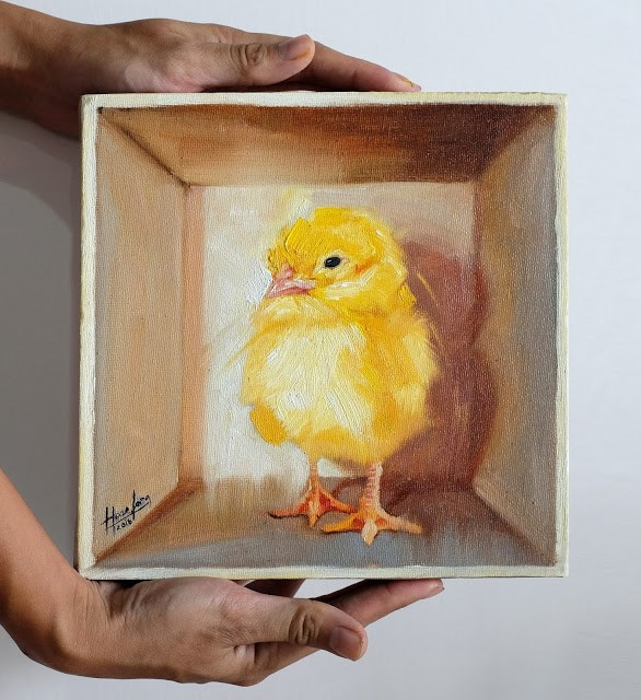 """Chick in a box I"" original fine art by Haze Long"