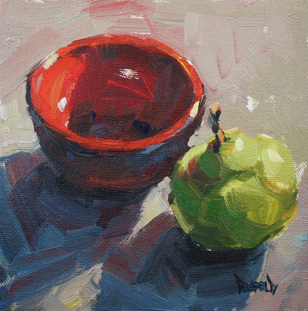 """Red Bowl and Pear"" original fine art by Cathleen Rehfeld"
