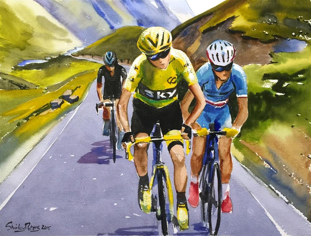 """Froome, Nibali and Porte"" original fine art by Shirley Peters"