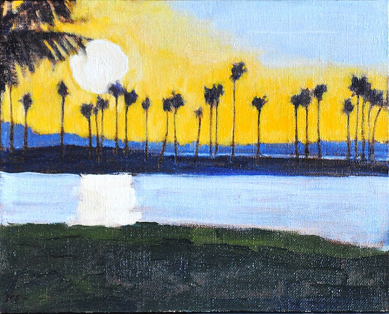 """California Sunset Palms in Mission Bay"" original fine art by Kevin Inman"