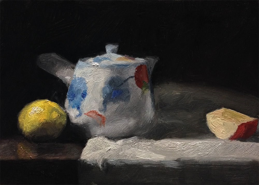 """Tea Pot and Fruit"" original fine art by Chris Beaven"