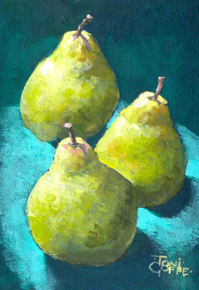 """Three Pears"" original fine art by Toni Goffe"