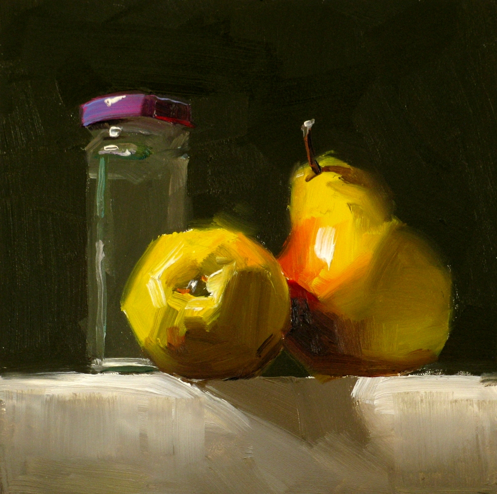 """Wrestling Pears"" original fine art by Qiang Huang"