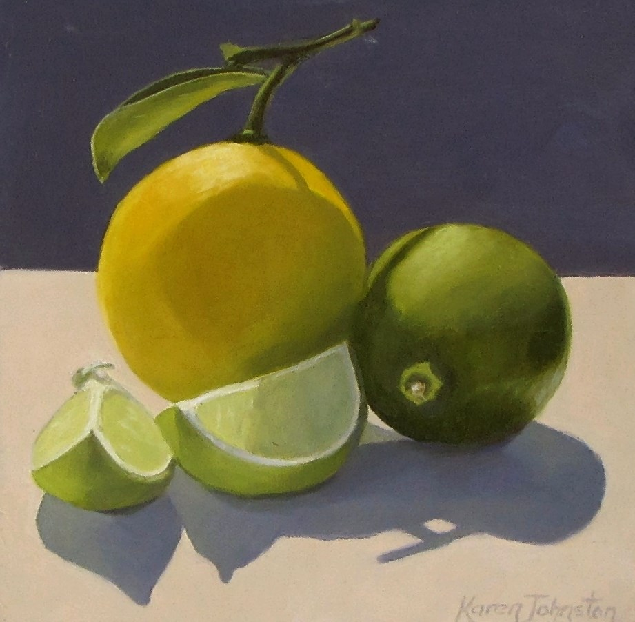 """Citrus Cousins"" original fine art by Karen Johnston"