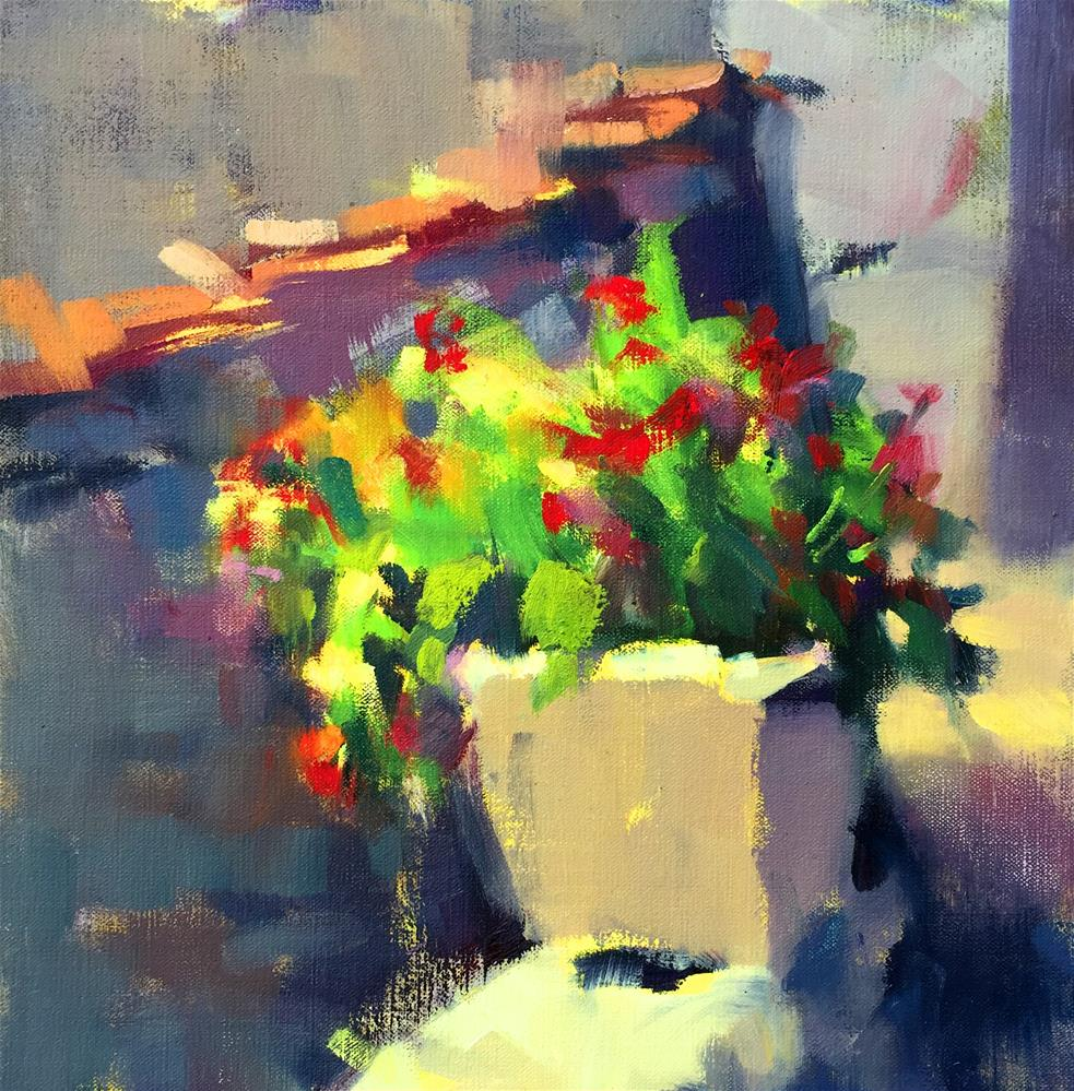 """Flower Pot in Pruno"" original fine art by Trisha Adams"