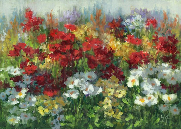 """Colors in the Garden"" original fine art by Linda Jacobus"