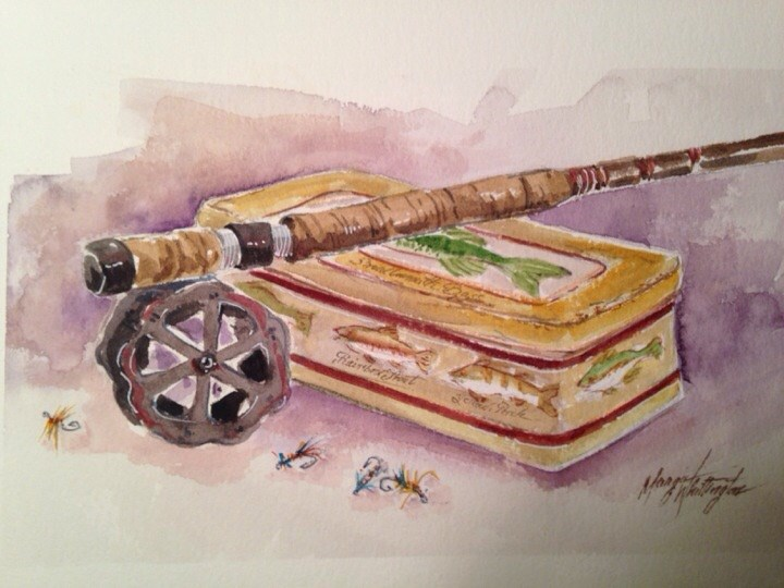 """Fishing Pole n Flies"" original fine art by Margie Whittington"