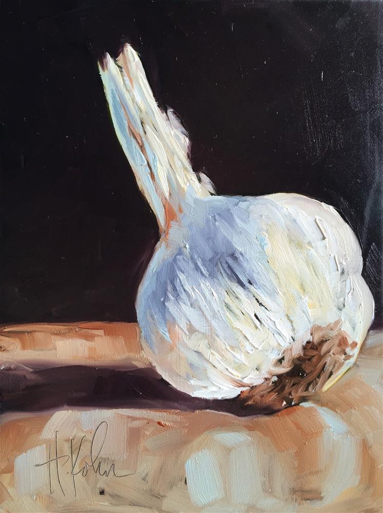 """Bulb of Garlic"" original fine art by Hallie Kohn"