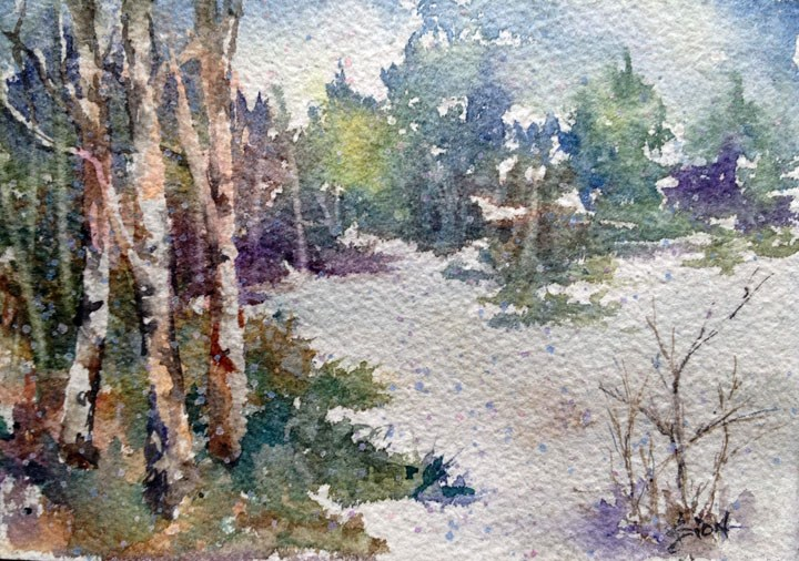 """Light Snow was Falling"" original fine art by Sue Dion"
