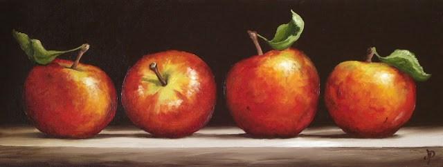 """Four Apples"" original fine art by Jane Palmer"
