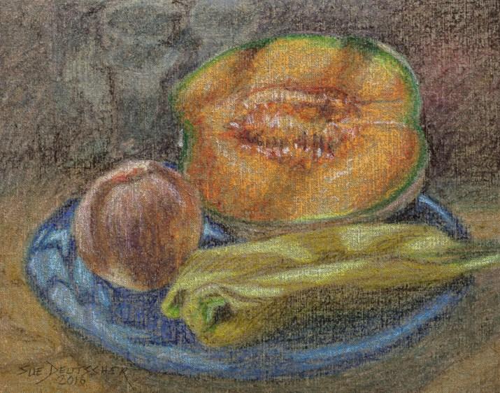 """Cantaloupe Peach and Bananas"" original fine art by Sue Deutscher"