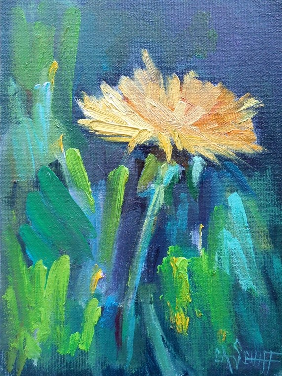 """""""Dandelion Painting, Daily Painting, Small Oil Painting, Just a Little Dandelion, 6x8 Original Oil"""" original fine art by Carol Schiff"""