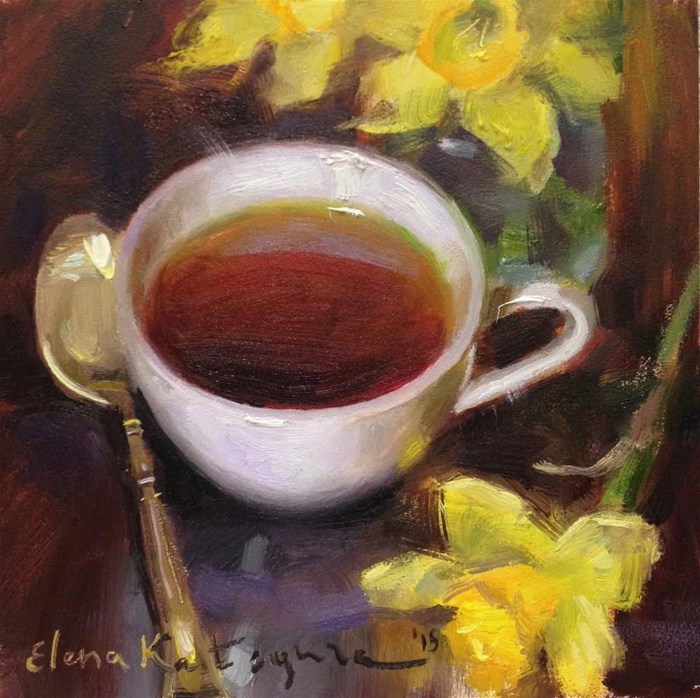 """Spring Tea"" original fine art by Elena Katsyura"