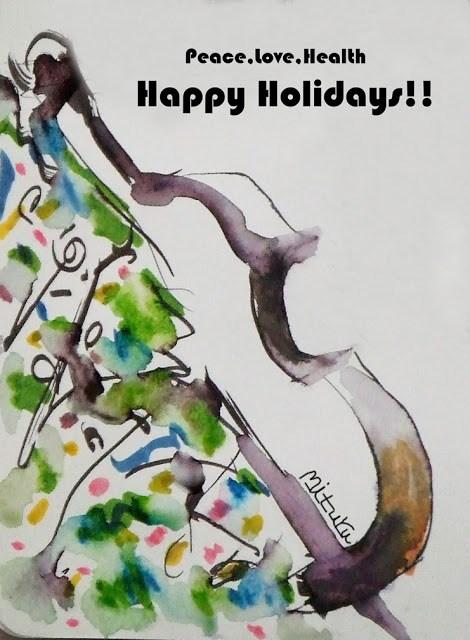 """Happy Holidays!"" original fine art by Mitsuru Cope"