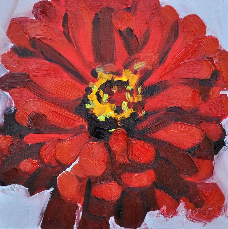 """Garden 2014 18 Red Zinnia 1"" original fine art by Amy McGuire"