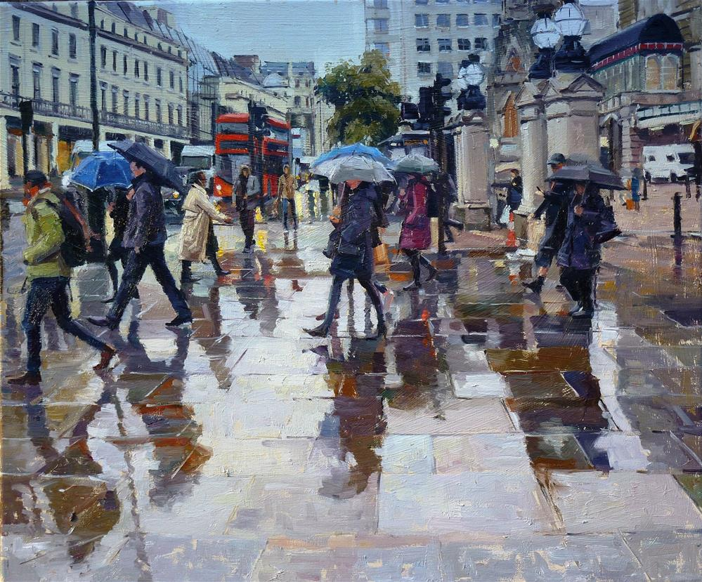 """The day it rained at Charing Cross"" original fine art by Adebanji Alade"
