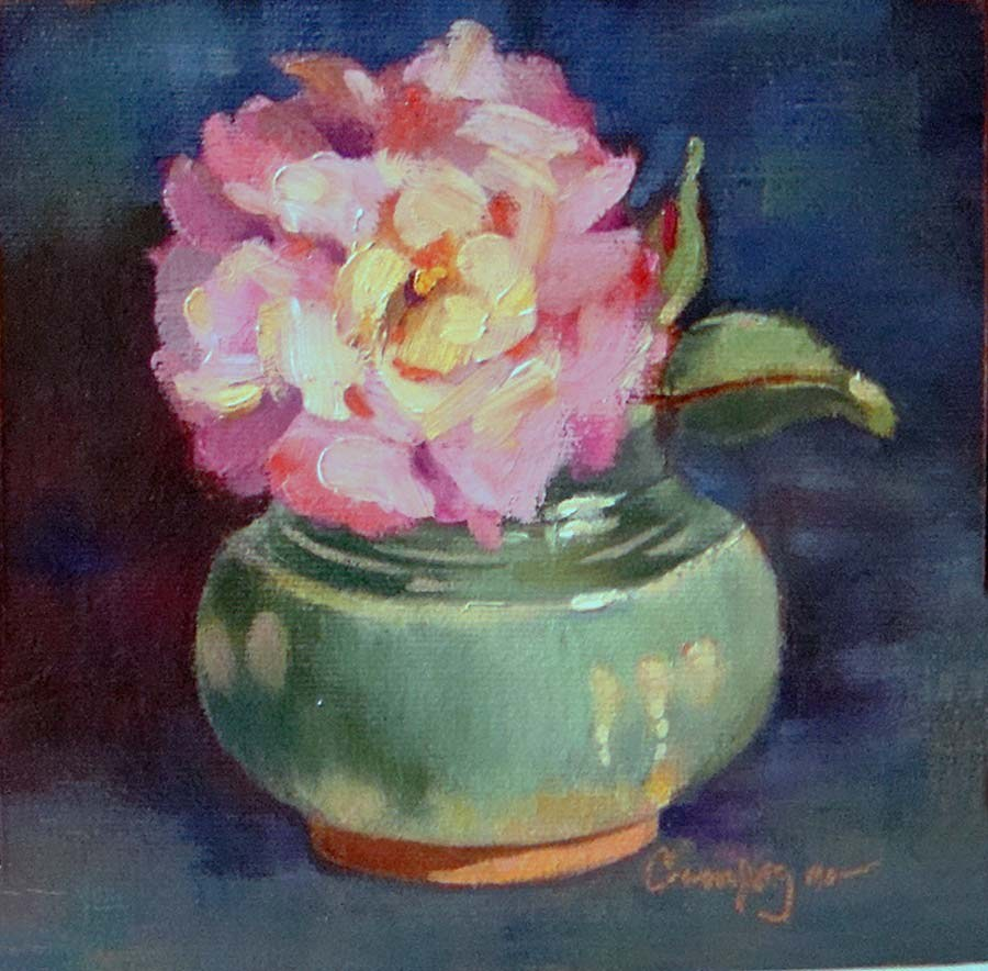 """""""Green Pot with Full Bloomed Rose"""" original fine art by Roseanne Campagna"""