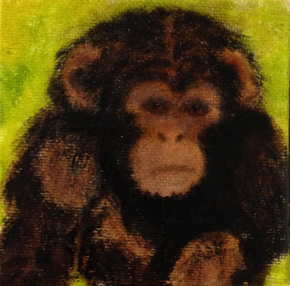 """Monkey See"" original fine art by Joy McMicken"