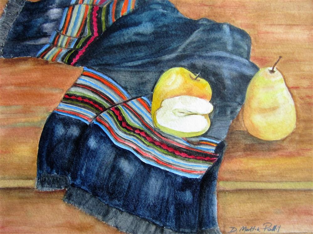 """Apple and Pear sitting on a decorative scarf"" original fine art by Dolores Pettit"