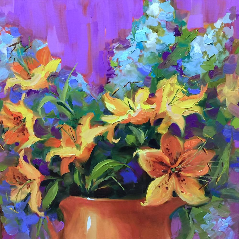 """A Free Palette Knife Video - Orange Pekoe Lilies and Delphiniums"" original fine art by Nancy Medina"