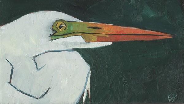 """White Egret"" original fine art by Elizabeth See"