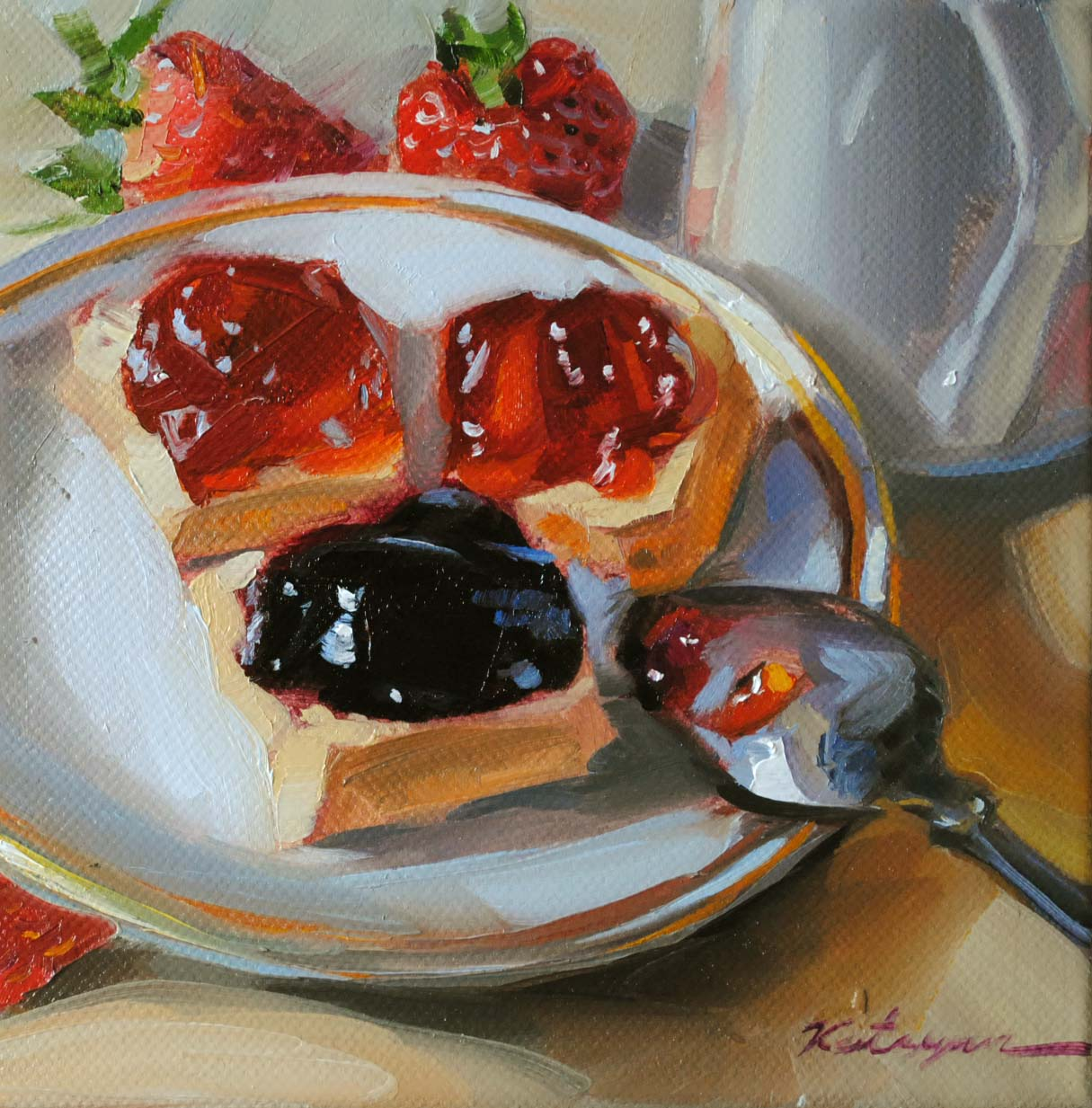 """Blackberry & Strawberry Jam"" original fine art by Elena Katsyura"