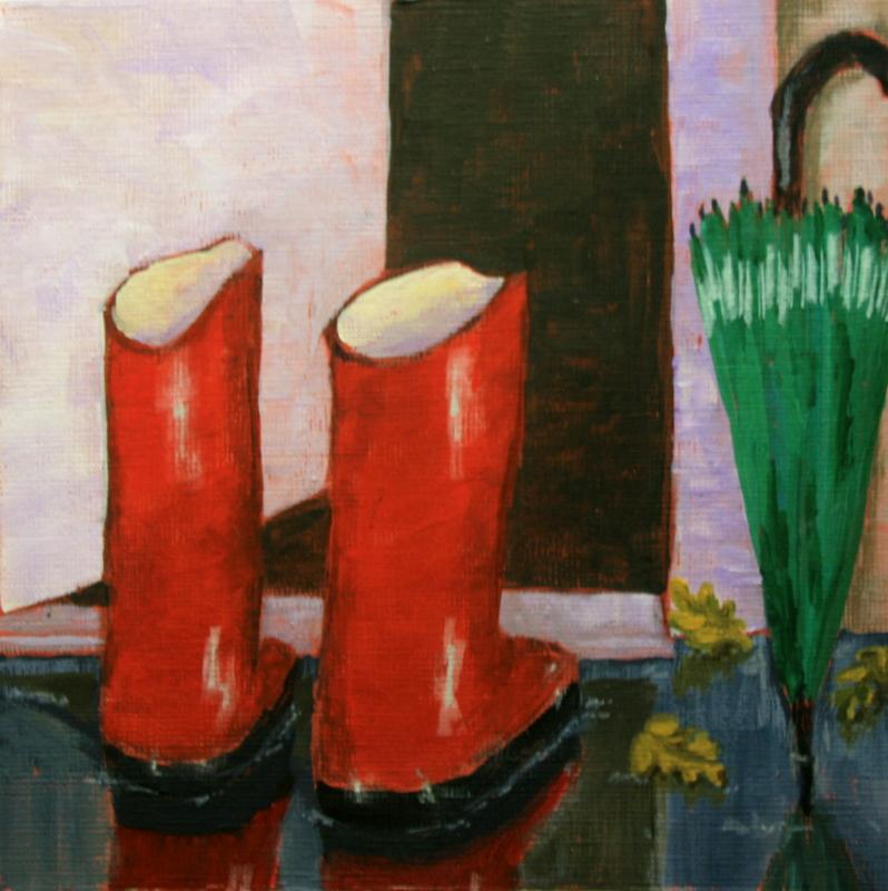 """Rainy Day Gear"" original fine art by Jean Nelson"