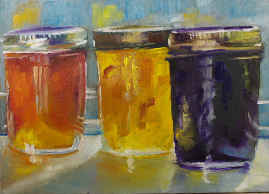 """Jam Jars #10"" original fine art by Sue Churchgrant"